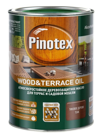 Масло Pinotex Wood&Terrace Oil тиковое дерево 1л - фото 7744